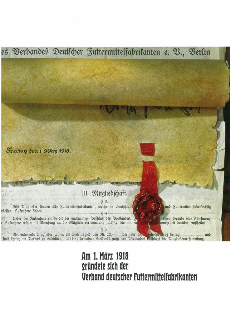 1918: Gründung des Verbands Deutscher Futtermittelfabrikanten e. V.